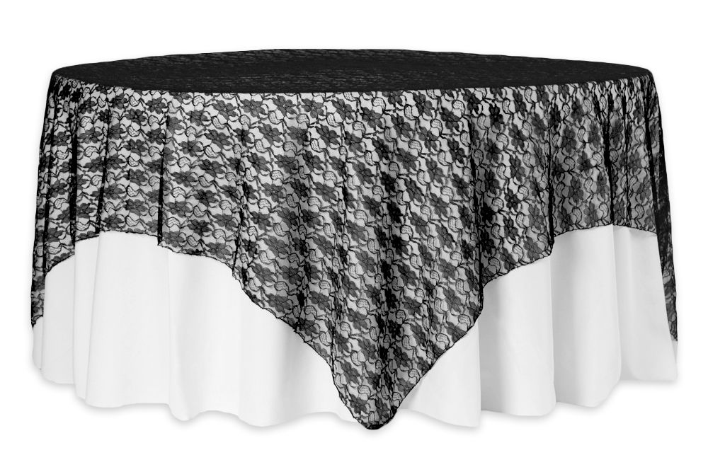 72 Square Lace Table Overlay Topper Black Lace Table Table