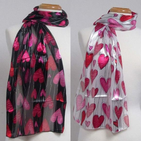 """Heart print satin strip print scarf Perfect for Valentines! Two colors available as pictured. 13"""" x 60"""" Accessories Scarves & Wraps"""