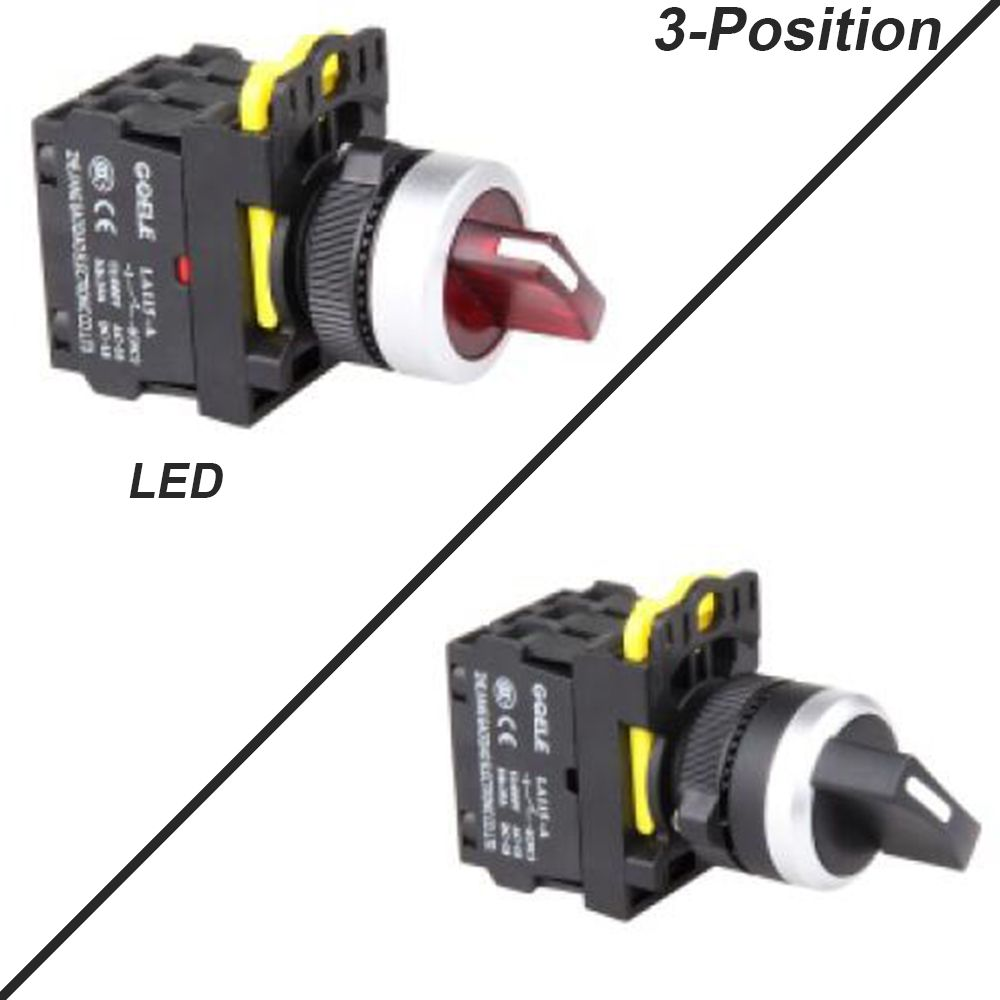 5 Pcs 3 Position Push Button Switch Selector Switch Short Handle Latching Or Momentary Waterproof Ip65 1no 1nc 2no 2nc Led Electrical Equipment Lights