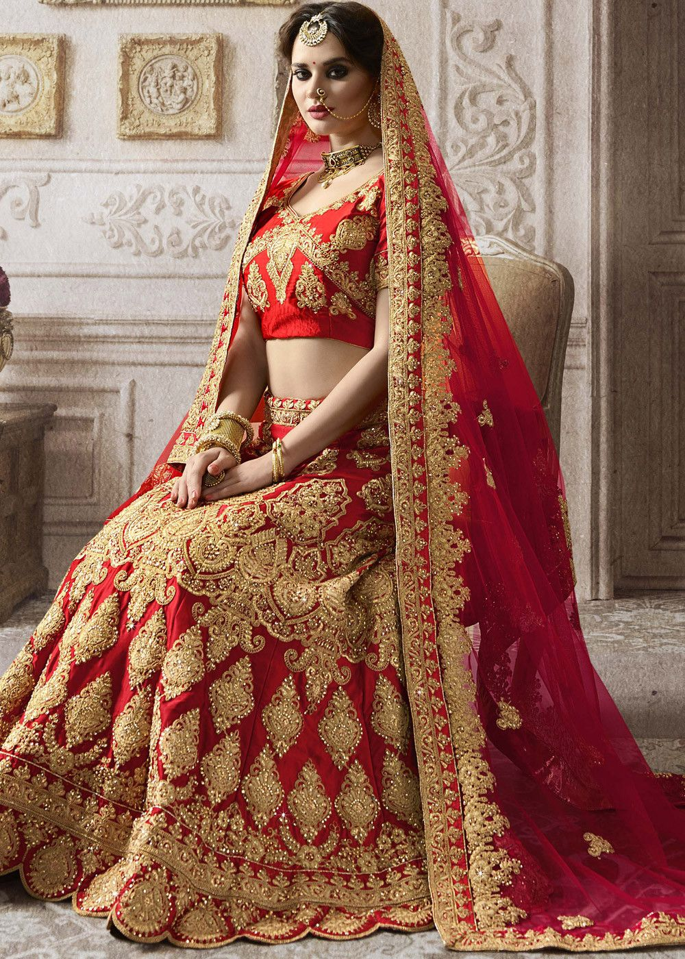 Red Satin Bridal Lehenga Choli With All Over Heavy Zari Embroidery And Kundan Work Indian Bridal Dress Indian Bridal Wear Indian Bridal Lehenga