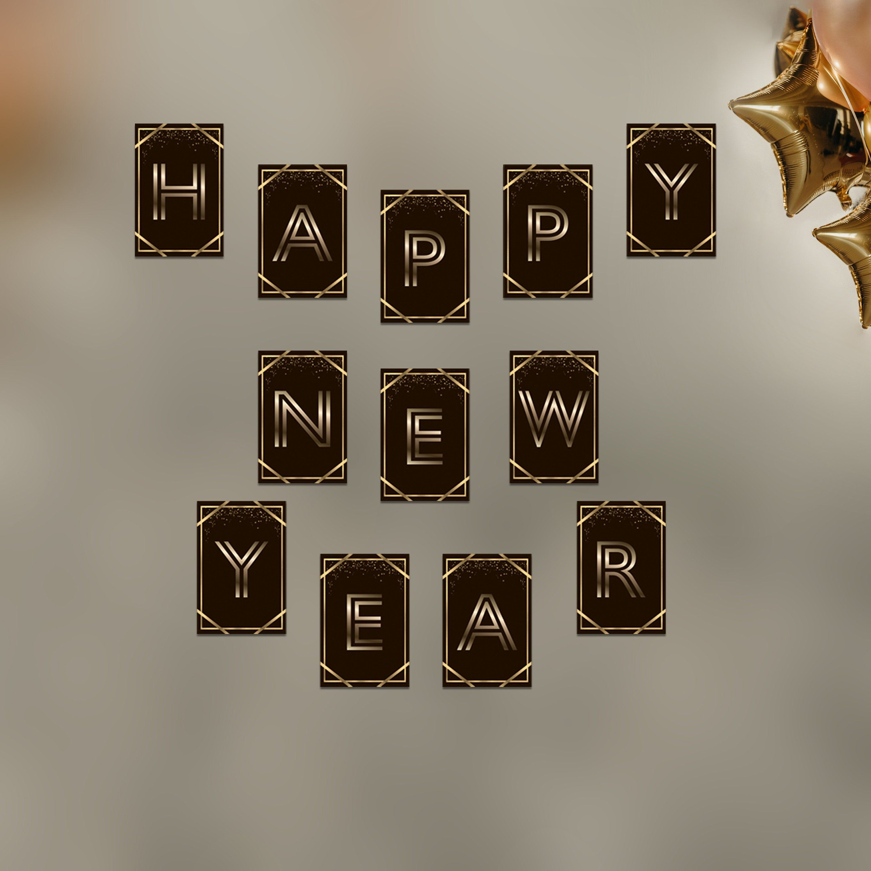 Happy New Year Gold Glitter Banner, New Year's Eve Party ...