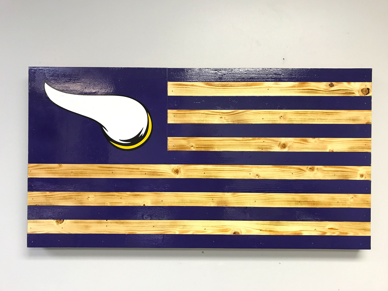 Minnesota Vikings Wood American Rustic Torched Flag Wood