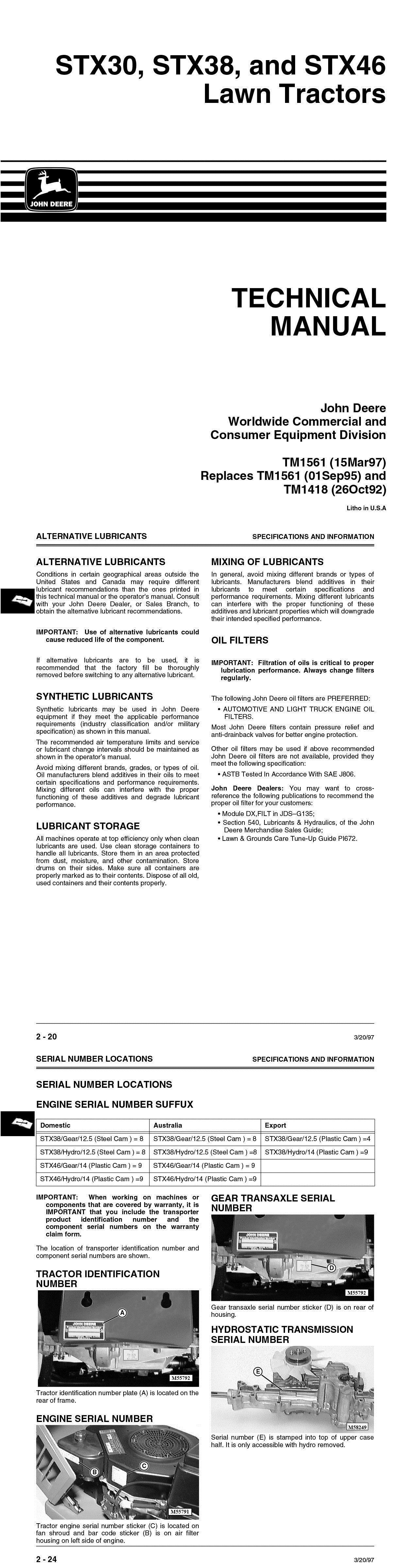 manuals and guides 42229 john deere stx30 stx38 stx46 lawn tractors rh pinterest com john deere stx30 owners manual John Deere STX30 Gas Tank