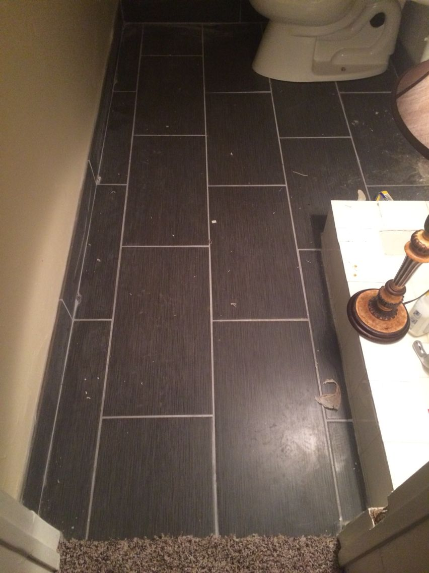 12x24 Charcoal Grey Tile Bathroom Floor Castle Stack Pattern Patterned Bathroom Tiles Grey Tile Pattern Grey Tiles