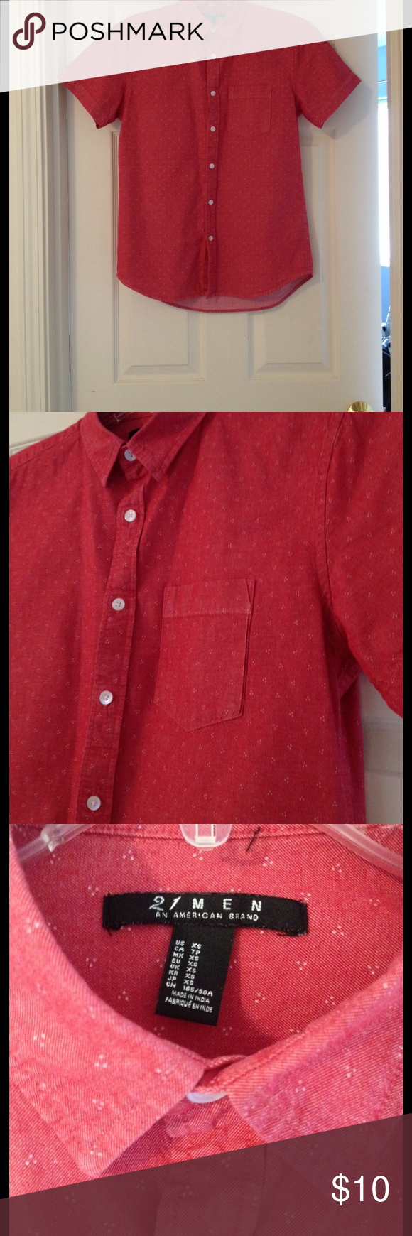 F21 Chambray Button Up Shirt Good used condition. Chambray/denim shirt. Red in color with small white details. Great shirt. My brother just grew out of it! Forever 21 Shirts Casual Button Down Shirts