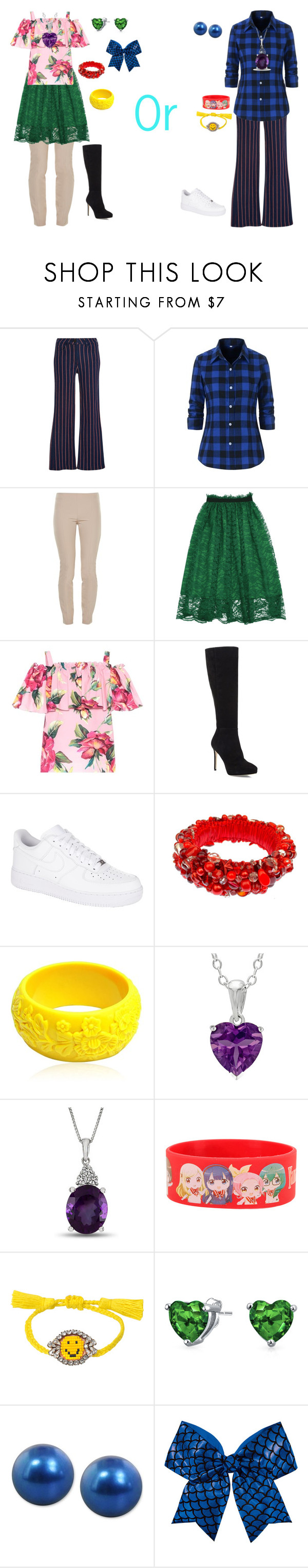 """""""Girly Girl vs Tomboy: Stadium outfits"""" by sierra-ivy on Polyvore featuring E L L E R Y, The Row, Dolce&Gabbana, Jimmy Choo, NIKE, Mariah Rovery, Hot Topic, Shourouk, Bling Jewelry and Honora"""
