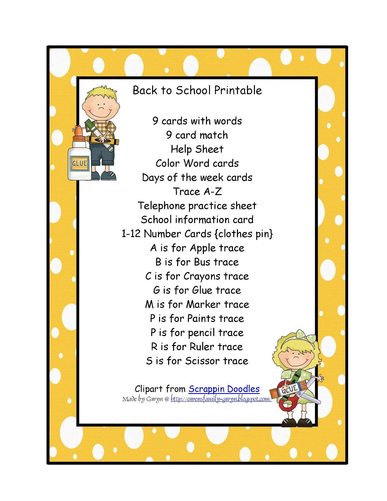Preschool Printables School Days