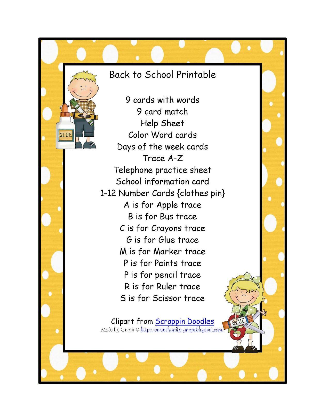Preschool Printables School Days