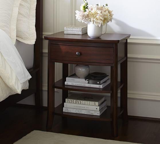 Pin By Bloomsbury Designs On Bedroom In 2020 Wood Bedroom Decor Wood Furniture Bedroom Decor Dark Wood Bedside Table