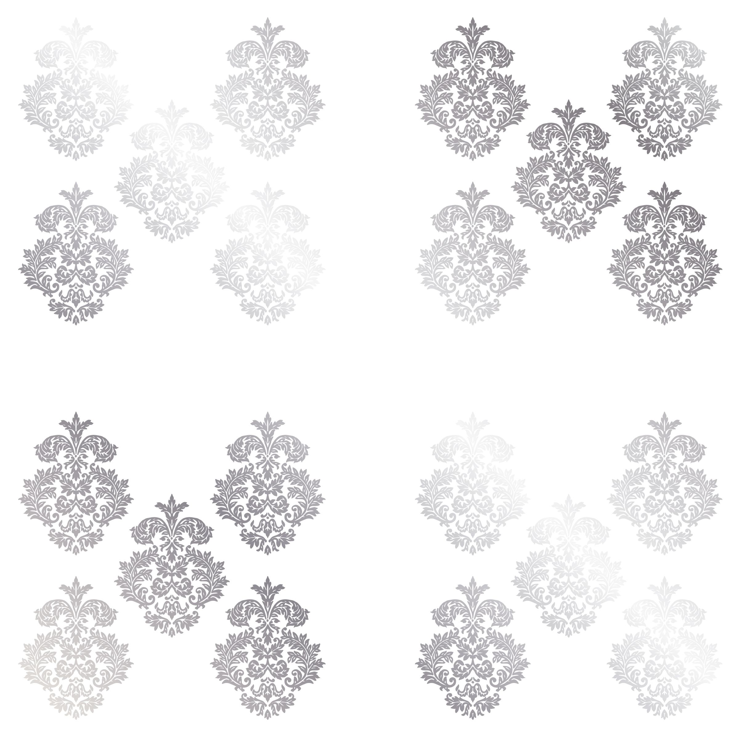 Elegant DCWV Home Peel And Stick Vinyl Wall Art: Silver Damask