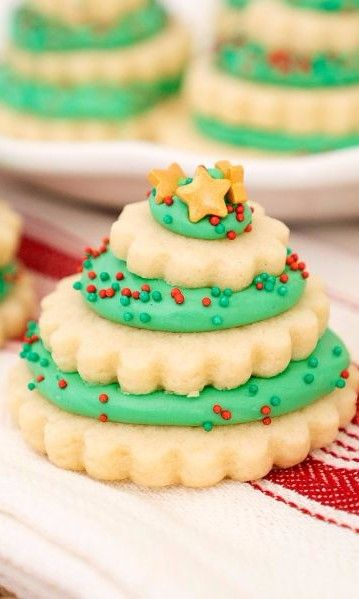 Christmas Tree Cookie Stacks Christmas Holiday Recipes Christmas