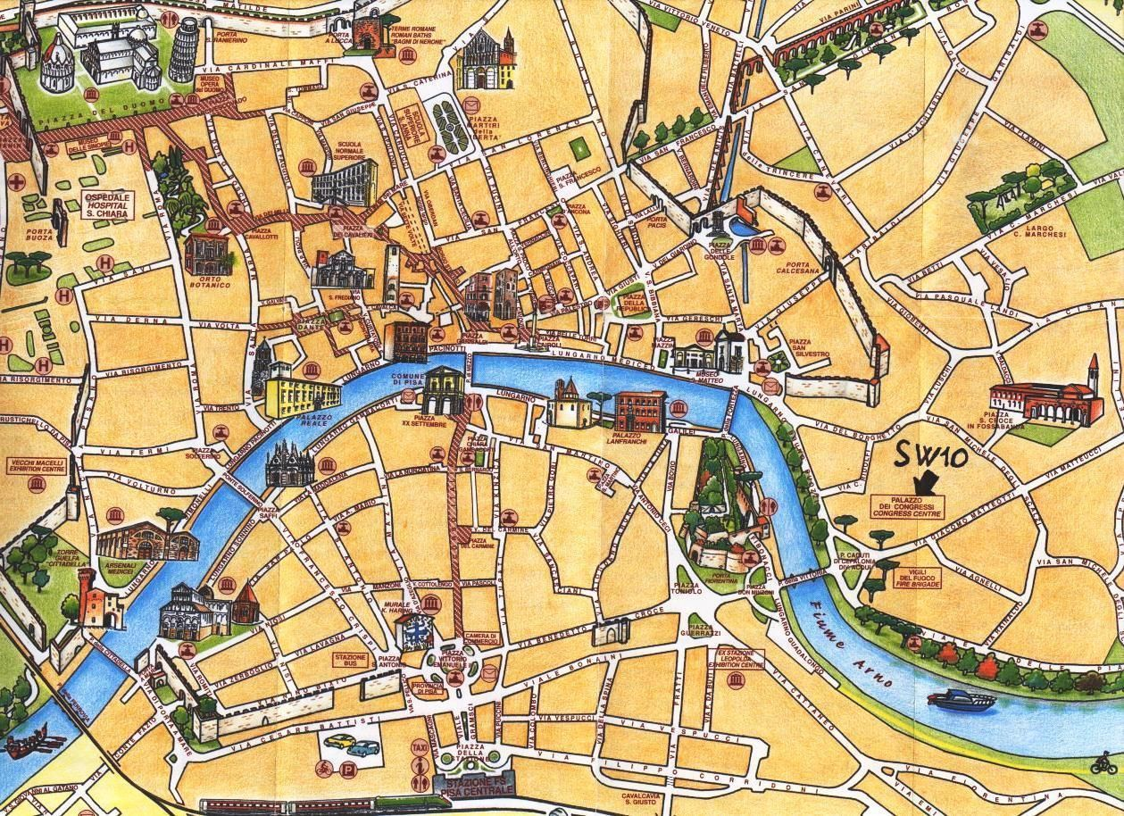 pisa tourist map  pisa italy • mappery  mapquest  pinterest  - pisa tourist map  pisa italy • mappery