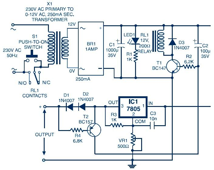 Auto Switch-Off Power Supply (Variable Output 3.7V to 8.7V ... on circuit breaker schematic, voltage regulator schematic, buck converter schematic,
