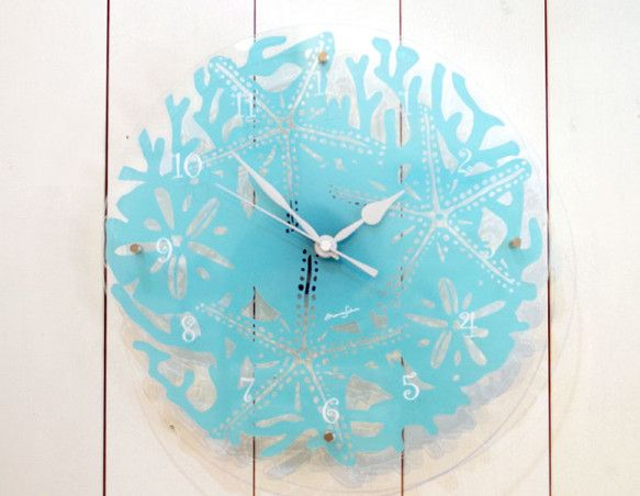 コーラルクロック素 材 アクリルサイズ 直径:26cm 板厚:3mmx2枚重ねカラー ターコイズ【海の時計】珊瑚、スターフィッシュ、シェル、サンドダラーをモチ...|ハンドメイド、手作り、手仕事品の通販・販売・購入ならCreema。