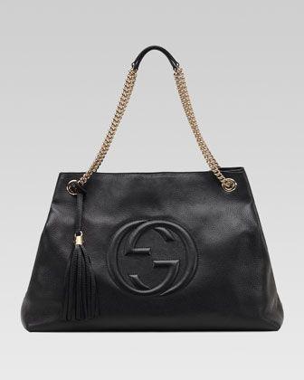 6d82efdc598 Soho Large Leather Double-Chain-Strap Shoulder Bag Black in 2019 ...