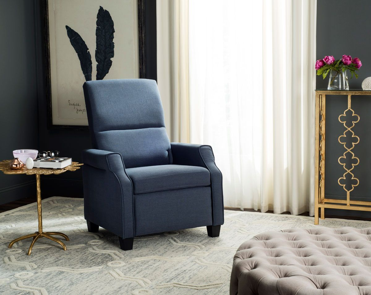 """Hamilton Recliner Chair FOX6220C $507  Description :  The modern magic of this contemporary recliner chair begins with its polished style. Sophisticated curves and plush navy upholstery create its luxurious aesthetic, but top designers love the truly indulgent experience of it's recline.  Features :  Color : Navy Wood Content : Eucalyptus Upholstery Content : Linen Dimensions :  Recliner Chair : 31""""W x 34""""D x 40.5""""H"""