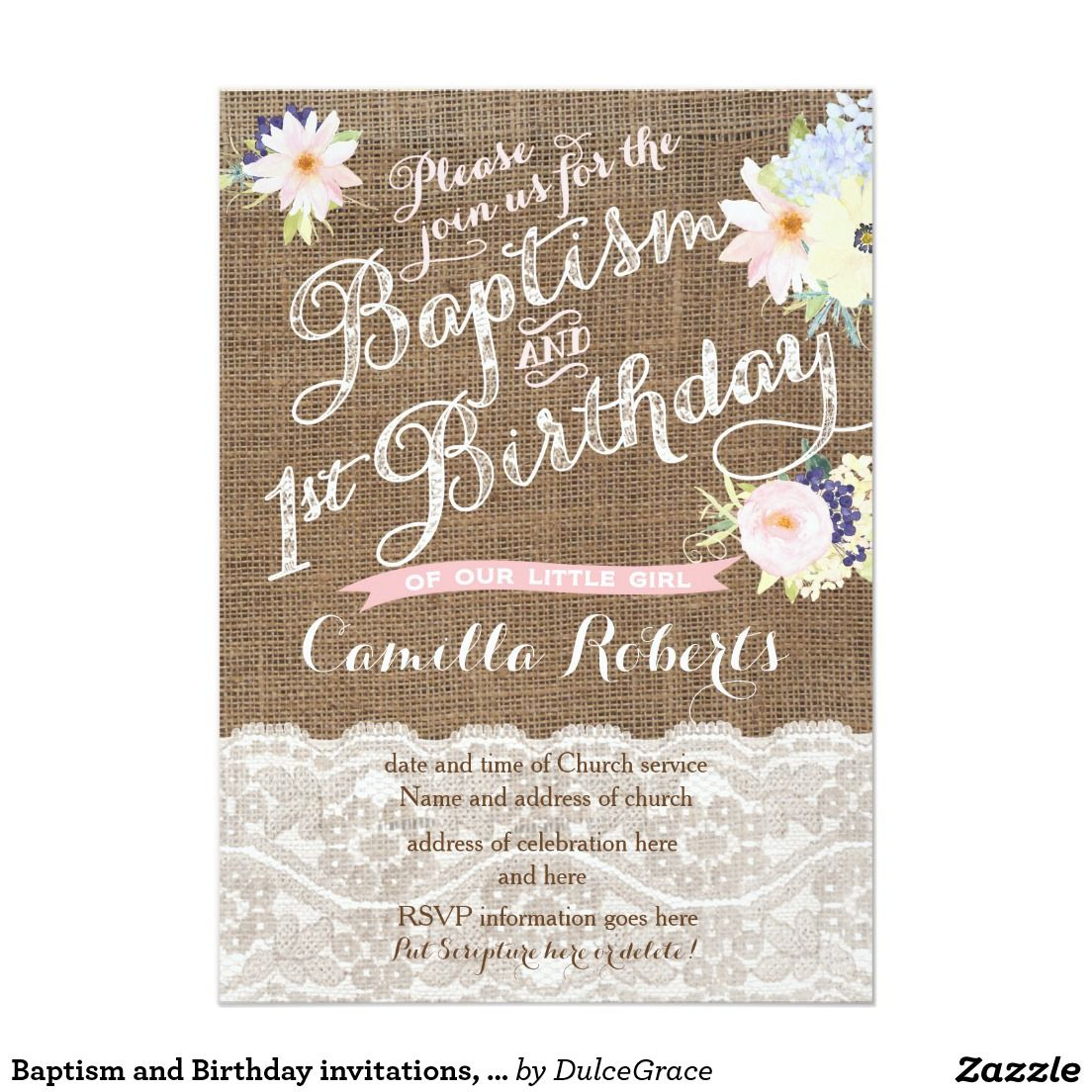 Baptism and Birthday invitations, 1st Birthday Invitation ...