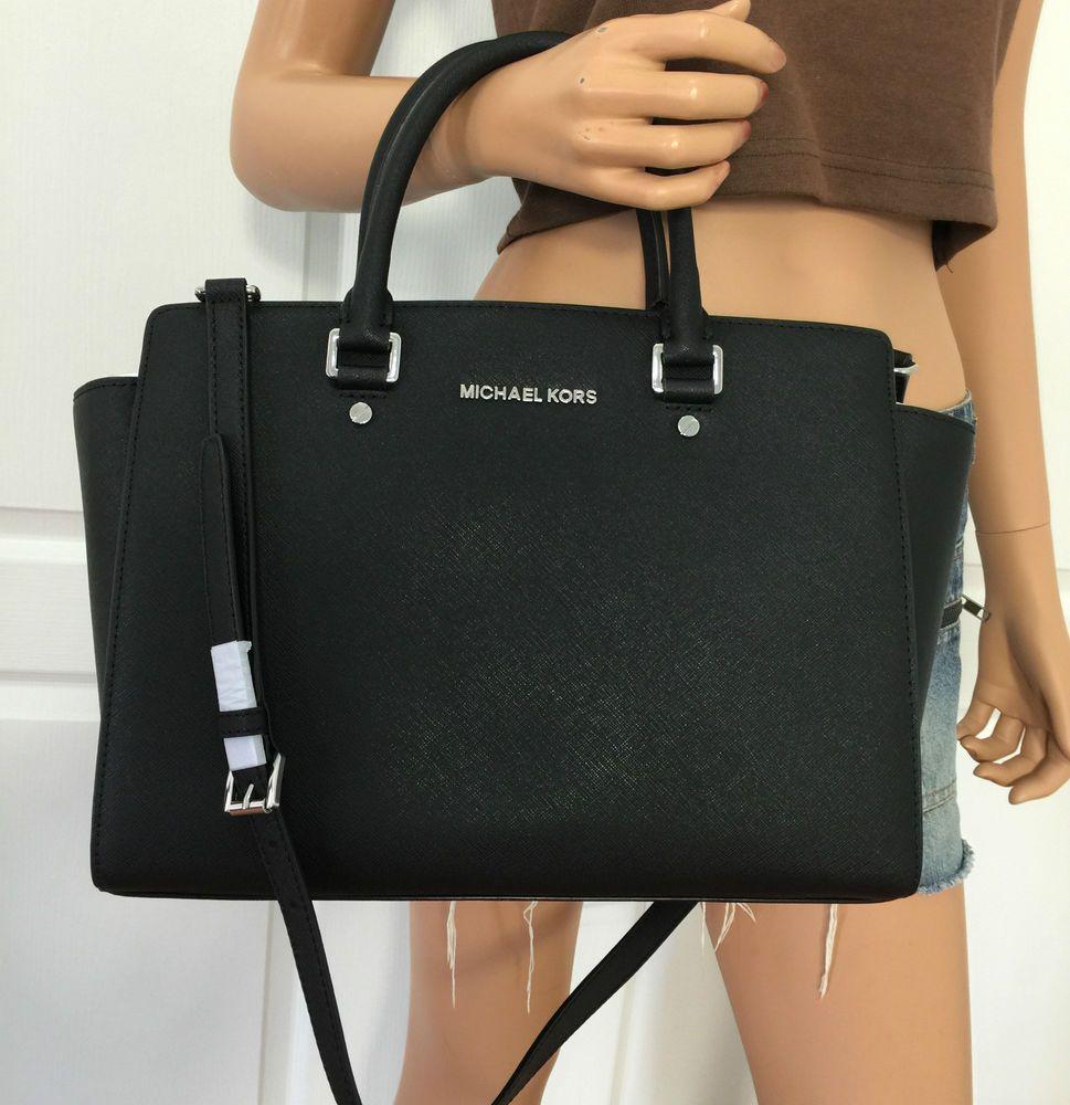 Michael Kors Selma Saffiano Leather Large Satchel Tote Bag Purse Black