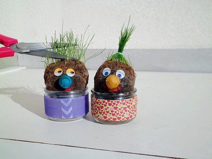 Nos bonhommes aux cheveux d 39 herbe sp cial loisirs b b pinterest bonhomme herbe et les - Activite manuelle jardinage ...
