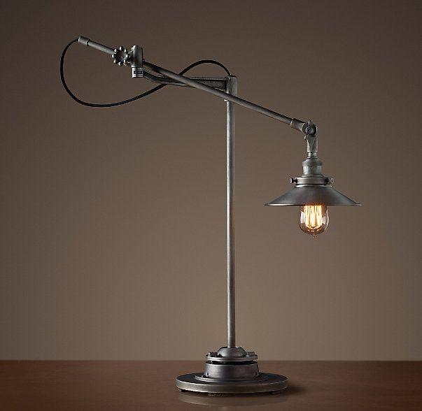 20th C. Factory Filament Metal Shade Task Lamp