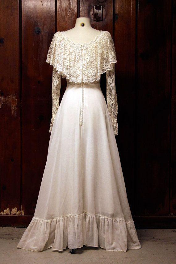 Vintage Wedding Dress White Lace 1960s 1970s Prairie