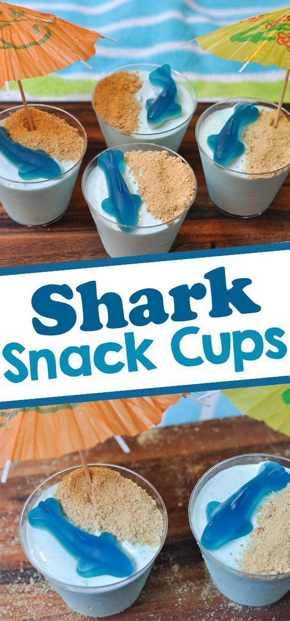 Shark Themed Snacks  Looking for Shark themed party food for a shark birthday party or to celebrate Shark Week? These fun shark snacks are made with yogurt and jello and topped with a gummy shark. #sharkweekfood Shark Themed Snacks  Looking for Shark themed party food for a shark birthday party or to celebrate Shark Week? These fun shark snacks are made with yogurt and jello and topped with a gummy shark. #sharkweekfood