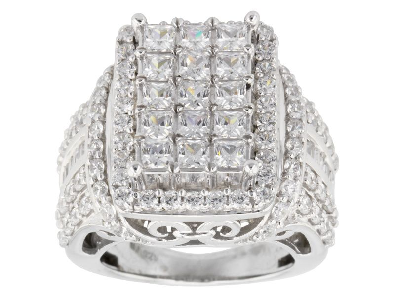 Bella Luce R 7 84ctw Diamond Simulant Rhodium Over Sterling Silver Ring 4 77ctw Dew