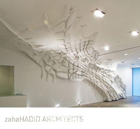 sculptural wall installation, white, texture, emphasis
