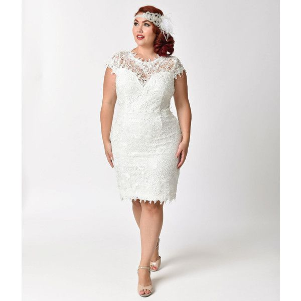 Plus Size Vintage Style White Floral Lace Cap Sleeve Wiggle Dress