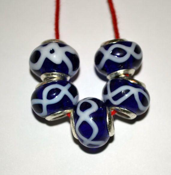 Murano Blue Lampwork Beads Fits European Style by LITTLEGABEADSHOP, $4.75