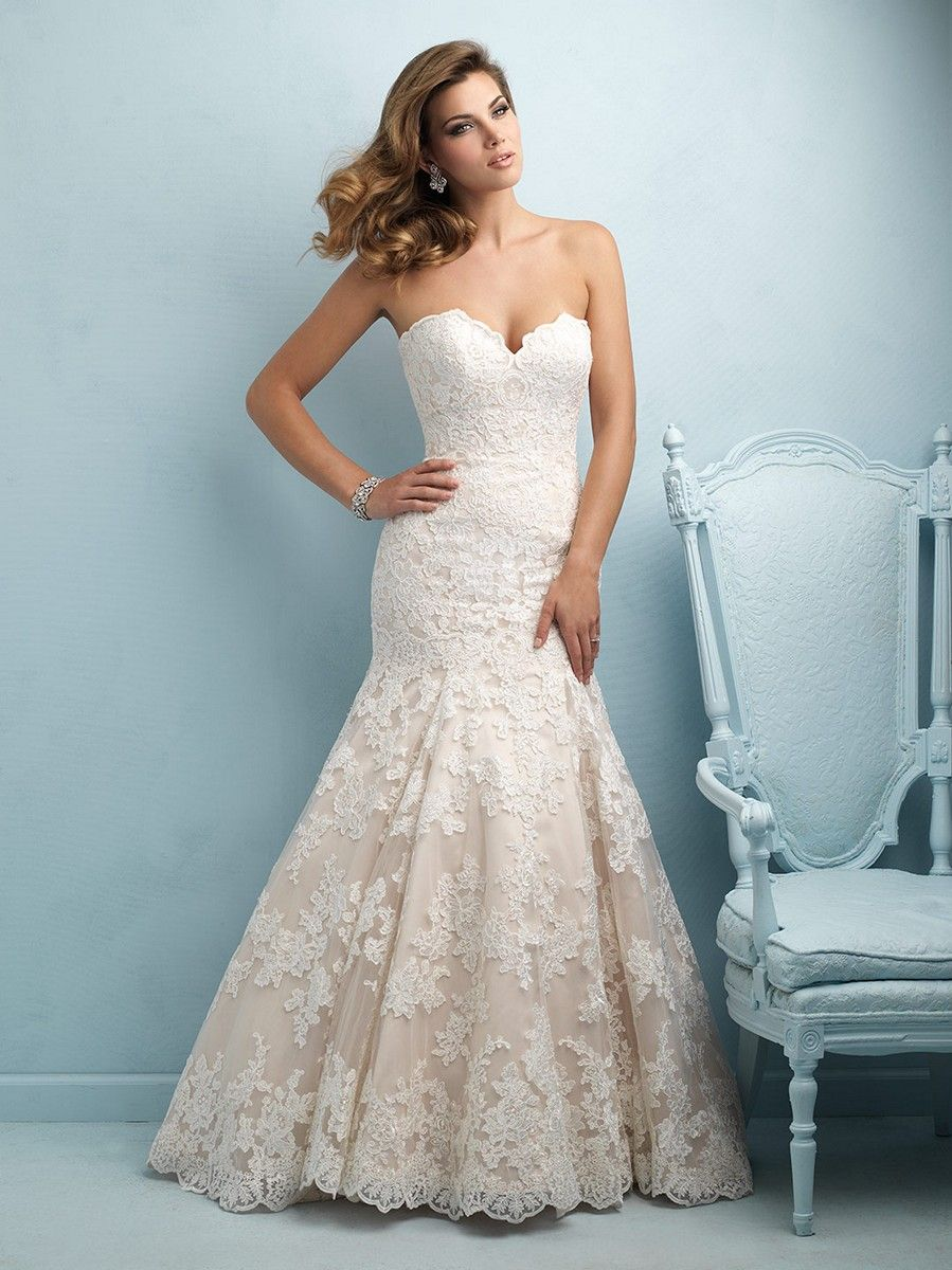 Allure 9215 Lace Strapless Sweetheart Bust Fit And Flare Chapel ...