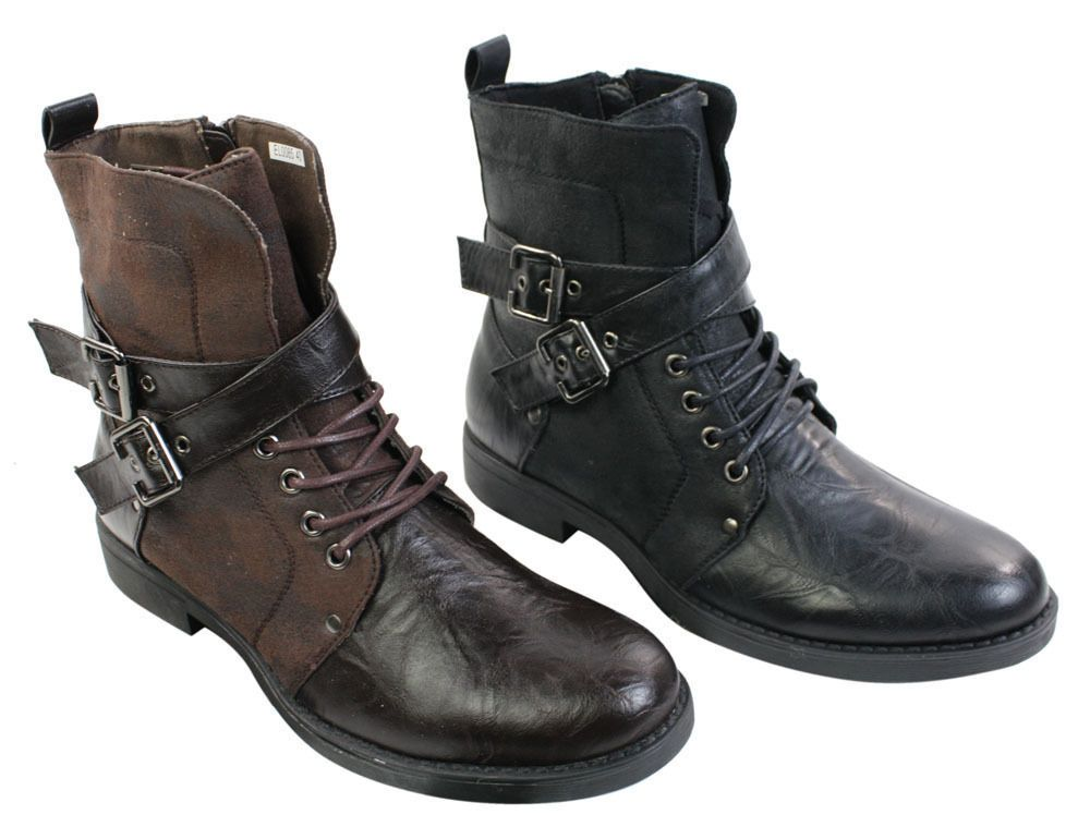 Mens Zip Laced Casual Punk Rock Goth Emo Ankle Boots Brown Black Leather