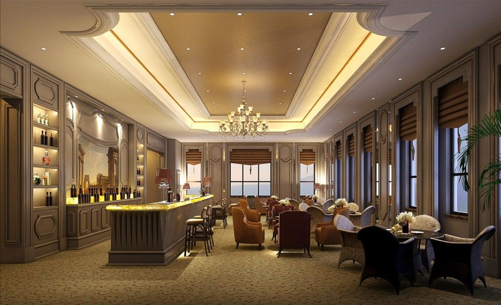 Restaurant interior design ceiling and seats ceiling for Design for hall decoration