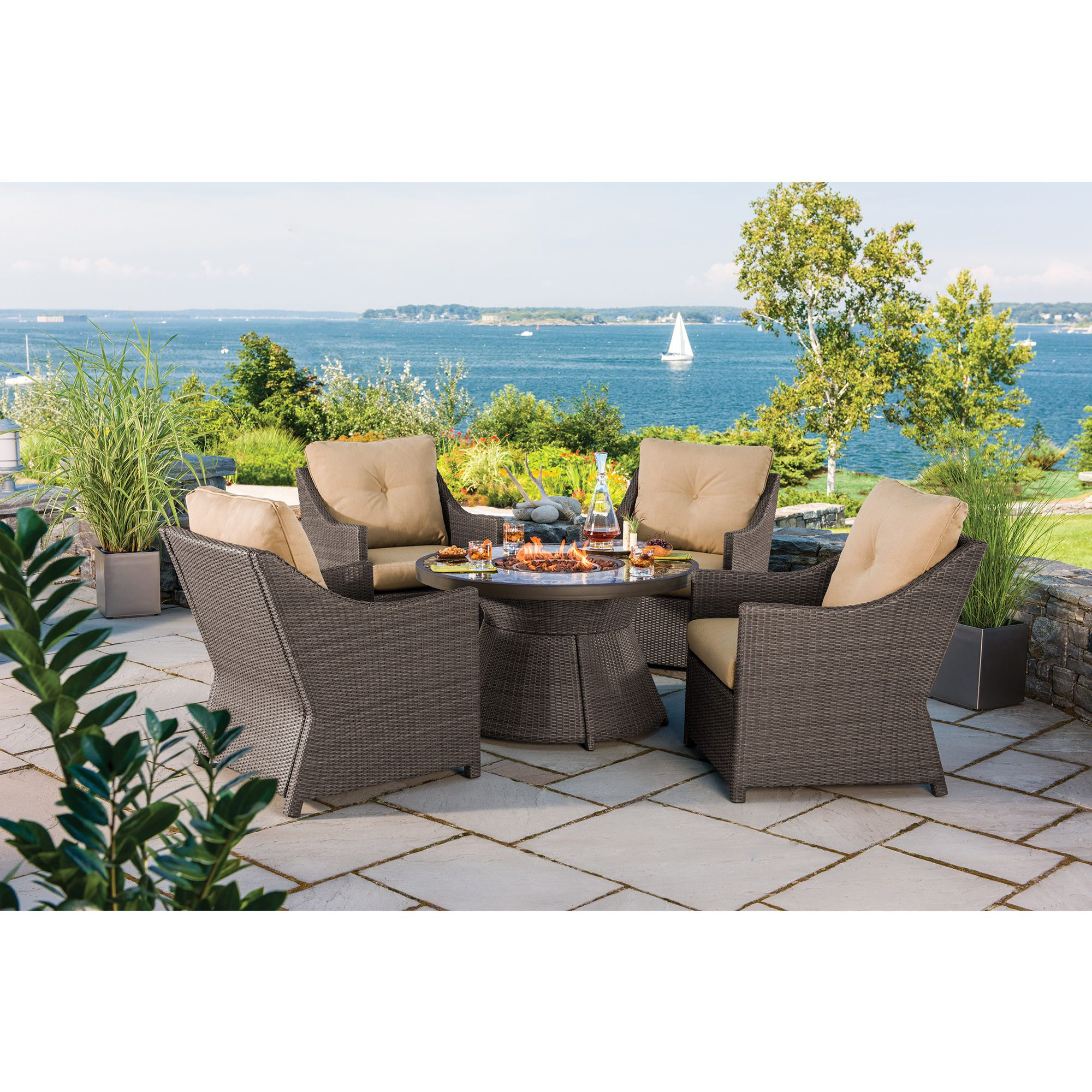 Berkley jensen antigua 5 piece wicker fire pit chat set for Wholesale patio furniture