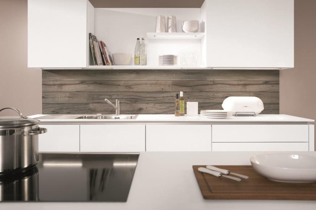 Kitchen Splashback In Grey Oak Reproduction From Nobilia Kitchens.