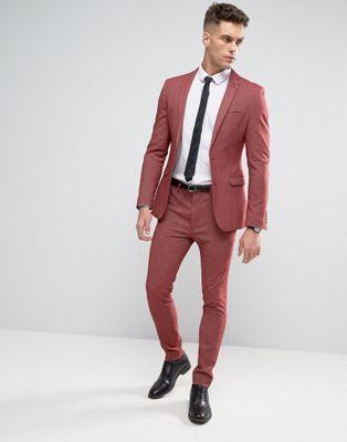 755eb977006ce ASOS Super Skinny Suit In Red Twist