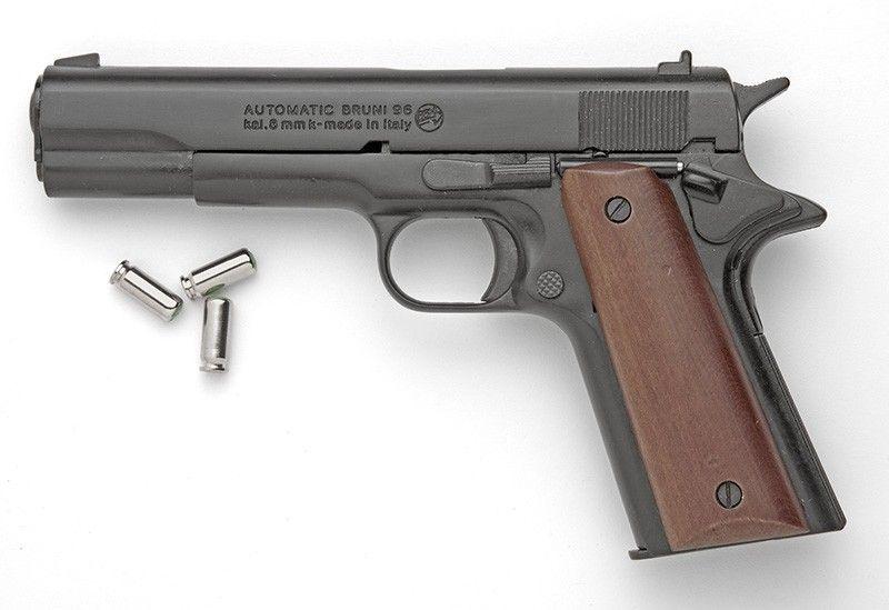 Replica Colt 45 Blank Firing M1911 8mm Automatic Gun, Black/Wood is