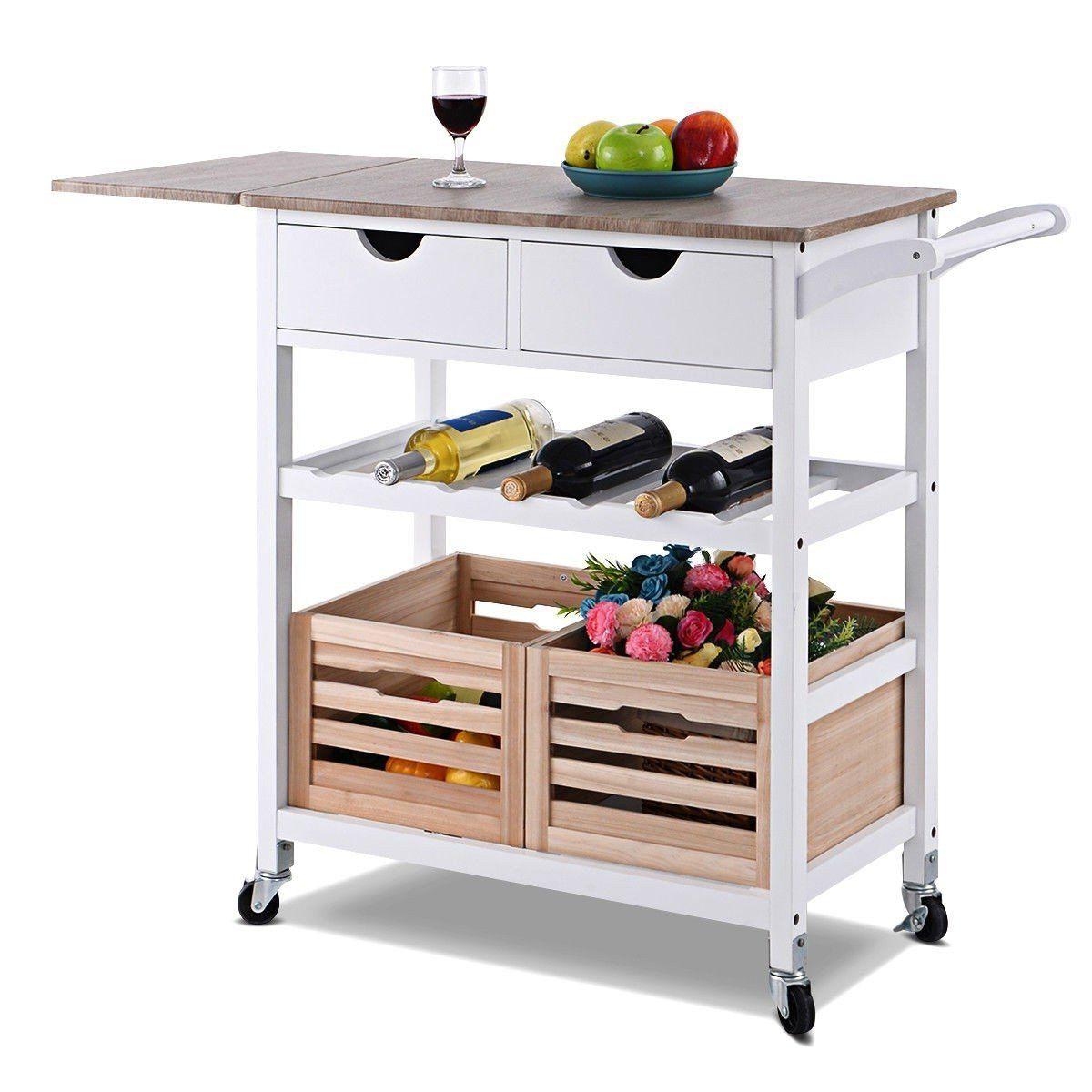 White Wood Kitchen Island Cart With Wine Rack And Wheels In 2020 Rolling Kitchen Island White Wood Kitchens Wood Kitchen Island