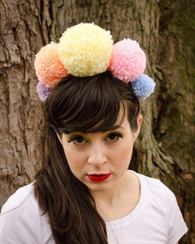 b39e6fa08ca Giant PomPom Crown. Handmade Yarn pompom jewelry headband. Pom Pom hair  accessory. Pastel. Pink
