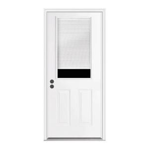 Jeld Wen 32 In X 80 In Primed Right Hand Inswing 1 2 Lite Clear Steel Prehung Back Door W Brickmould Thdjw184700031 Reliabilt Entry Doors Steel Entry Doors