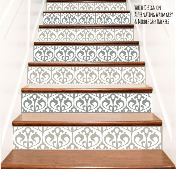 Decorative Floral Nouveau Vinyl Stair Decals . Decor Steps Riser Stickers  Adhesive Wallpaper . Your Choice Of Color And Quantity
