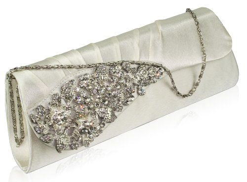 Ladies Wedding Crystal Diamante Prom Evening Clutch Shoulder Handbag Purse BagUK