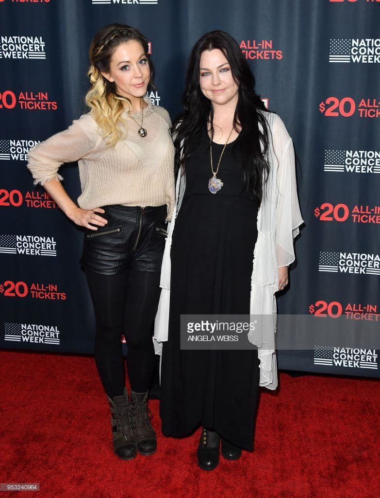 Musician Lindsey Stirling And Amy Lee Of Evanescence Attend Live
