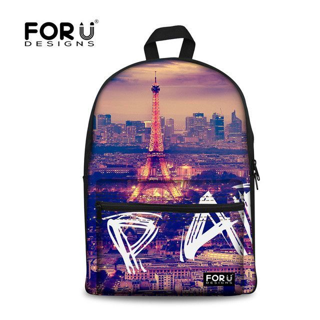 FORUDESIGNS Paris Eiffel Tower Printing Backpack for Teenage Girls ... 956a7668f171c