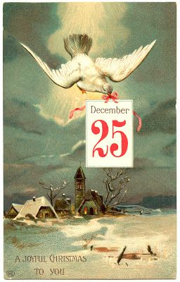Vintage Christmas Image - Dove with Sign - The Graphics Fairy