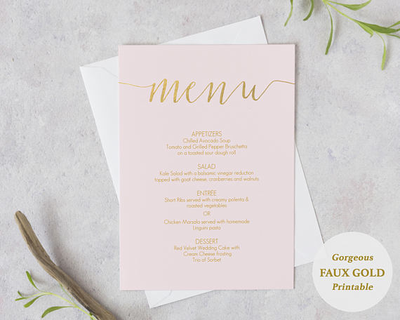 Blush Pink And Gold Menu Printable Diy Template Instant