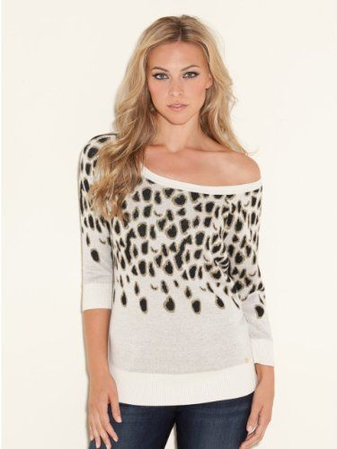 d6d8807205cd GUESS Three-Quarter Sleeve Leopard Pullover: Amazon.com: Clothing ...