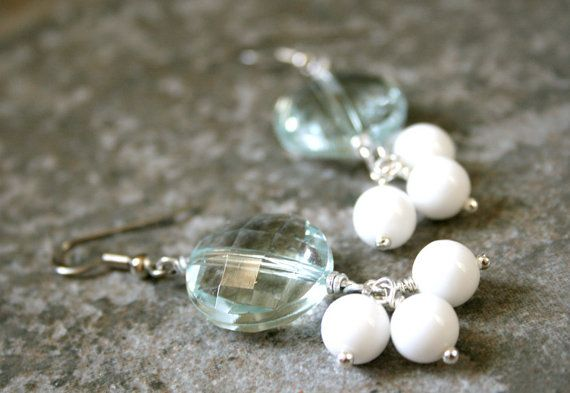 Bold Long Mint and White Earrings Lucite Sparkle by AhteesDesigns, $14.00