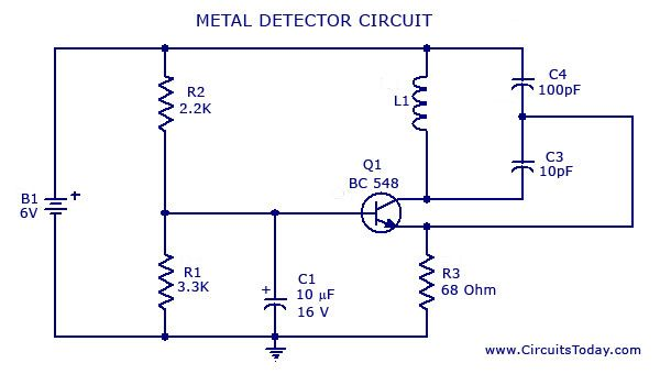 A Simple Metal Detector Circuit Diagram And Schematic Using Single Transistor Radio This Sensor Project Is Easy To Make An
