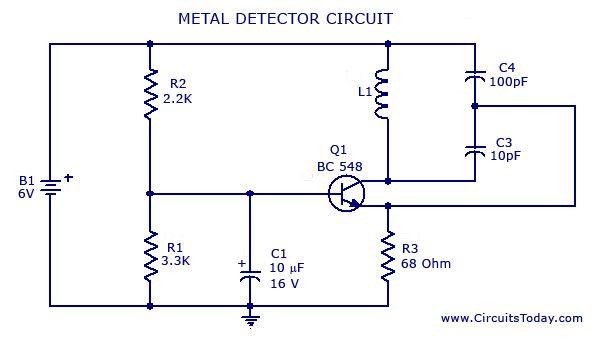 metal detector circuit diagrams schematics electronic projects rh pinterest com au Laser Schematic Circuit Laser Schematic Circuit